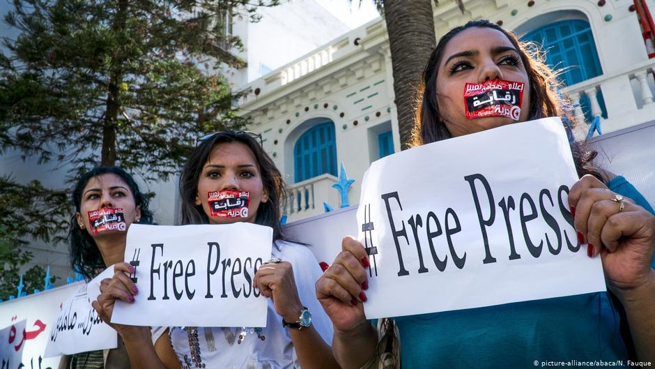 Journalists protesting in defense of press freedom in Tunis, 17 October 2012. Picture Alliance, ABACA, N. Fauque