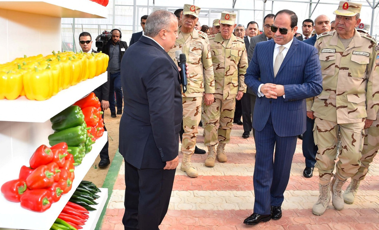 Egyptian President Abdel Fatah al-Sisi inaugurates a military agricultural project, 10th of Ramadan city northeast of Cairo, Egypt, 22 December 2018. Egyptian Presidency Handout/REUTERS.