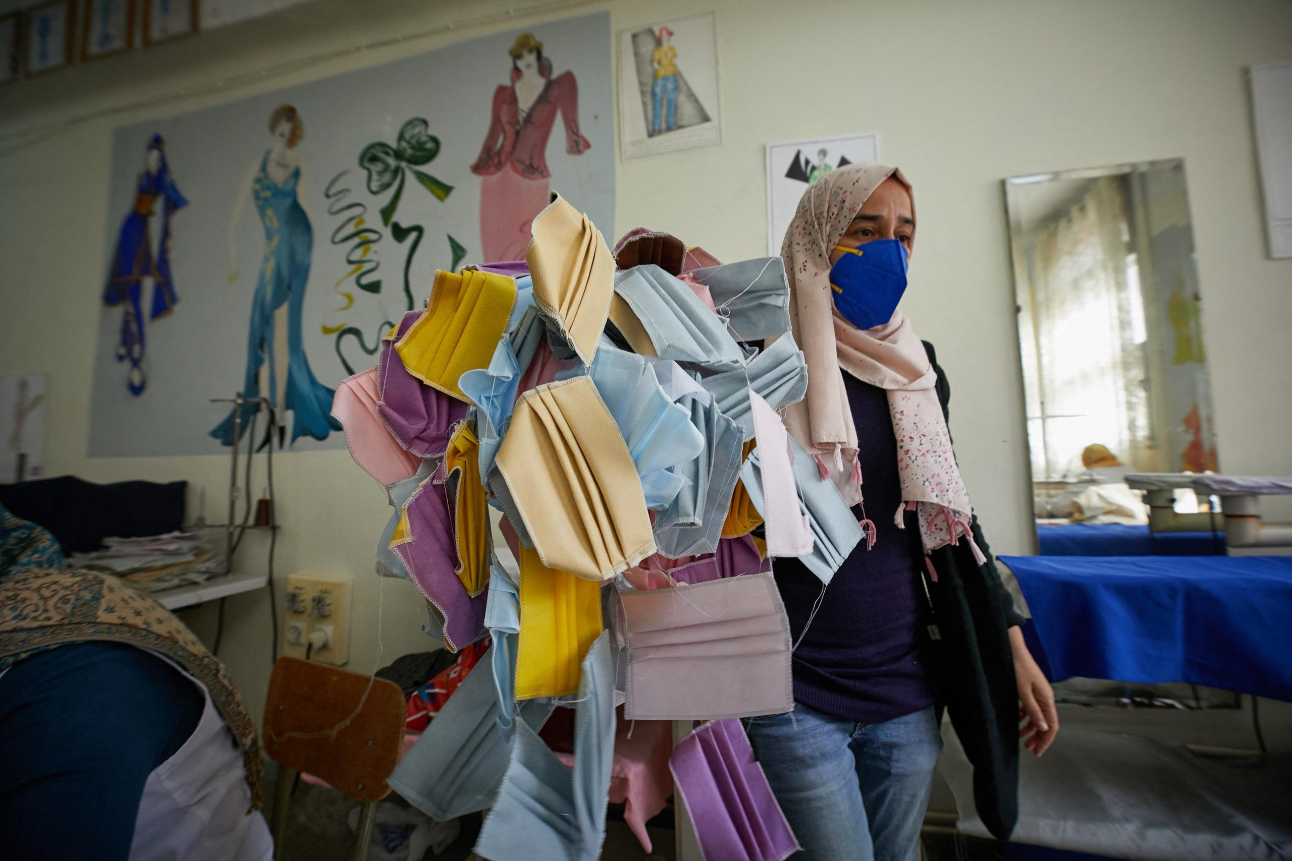A sewing workshop makes single-use protective masks to combat the spread of Covid-19, Algiers, Algeria, 31 March 2020. Reuters, Louiza Ammi/ABACA.