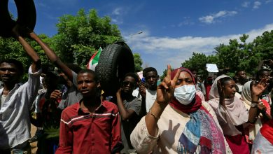 Sudanese protesters march in a demonstration to mark the anniversary of a transitional power-sharing deal with demands for quicker political reforms, Khartoum, Sudan 17 August 2020. Reuters, Mohamed Nureldin Abdallah.
